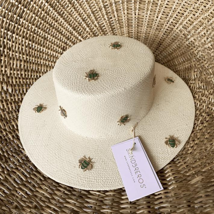 Sombrero Cordobes Moscas verdes doradas sandbreros paja naural extrafina