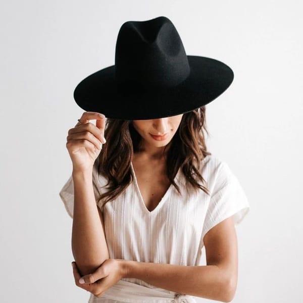 sombrero sandbreros fedora negro lana extrafina