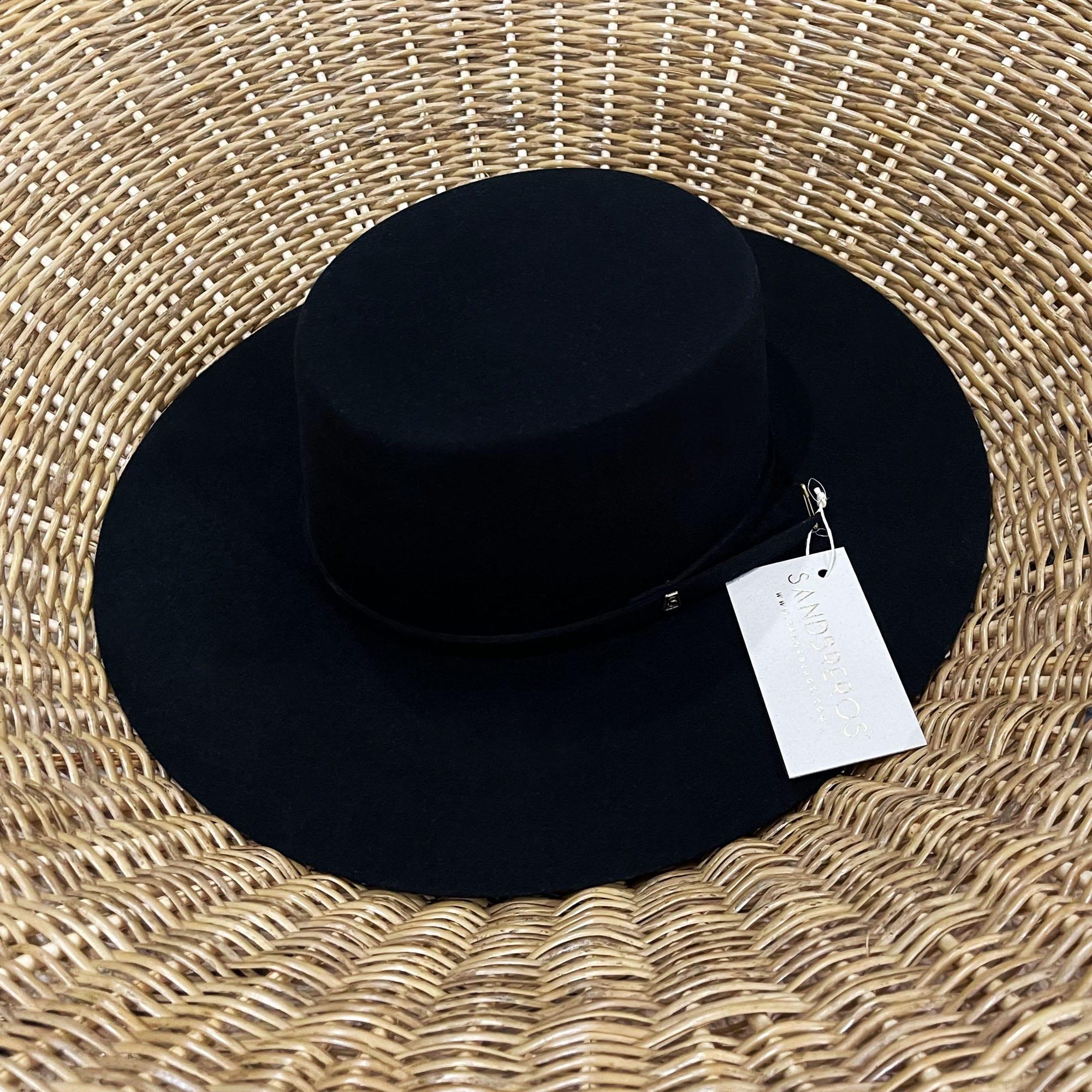 sombrero español negro de lana natural extrafina con copa redonda