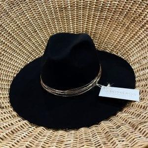 Fedora Negro Leone de paja natural extrafina