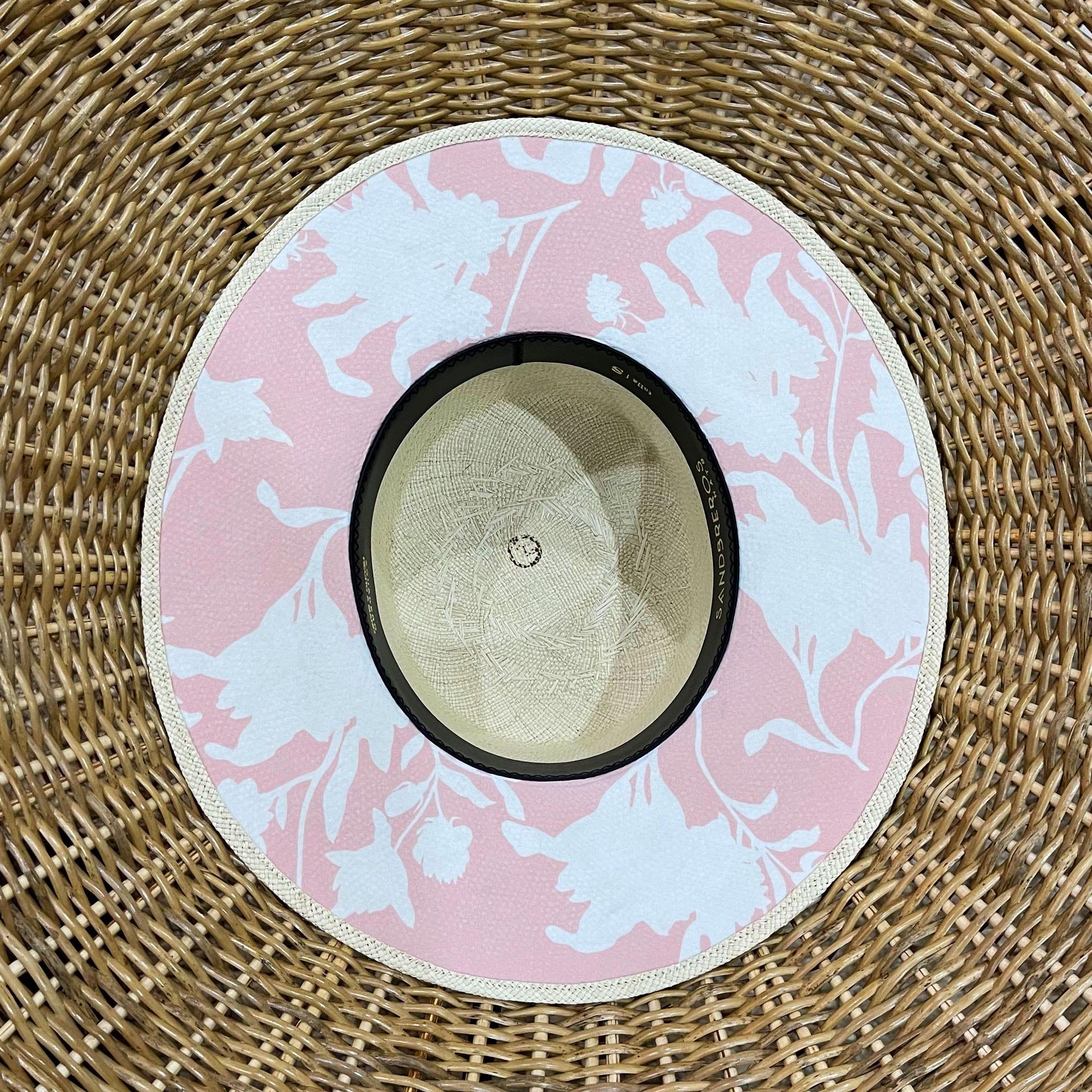 cordobes de paja natural extrafina con tela debajo del ala rosada