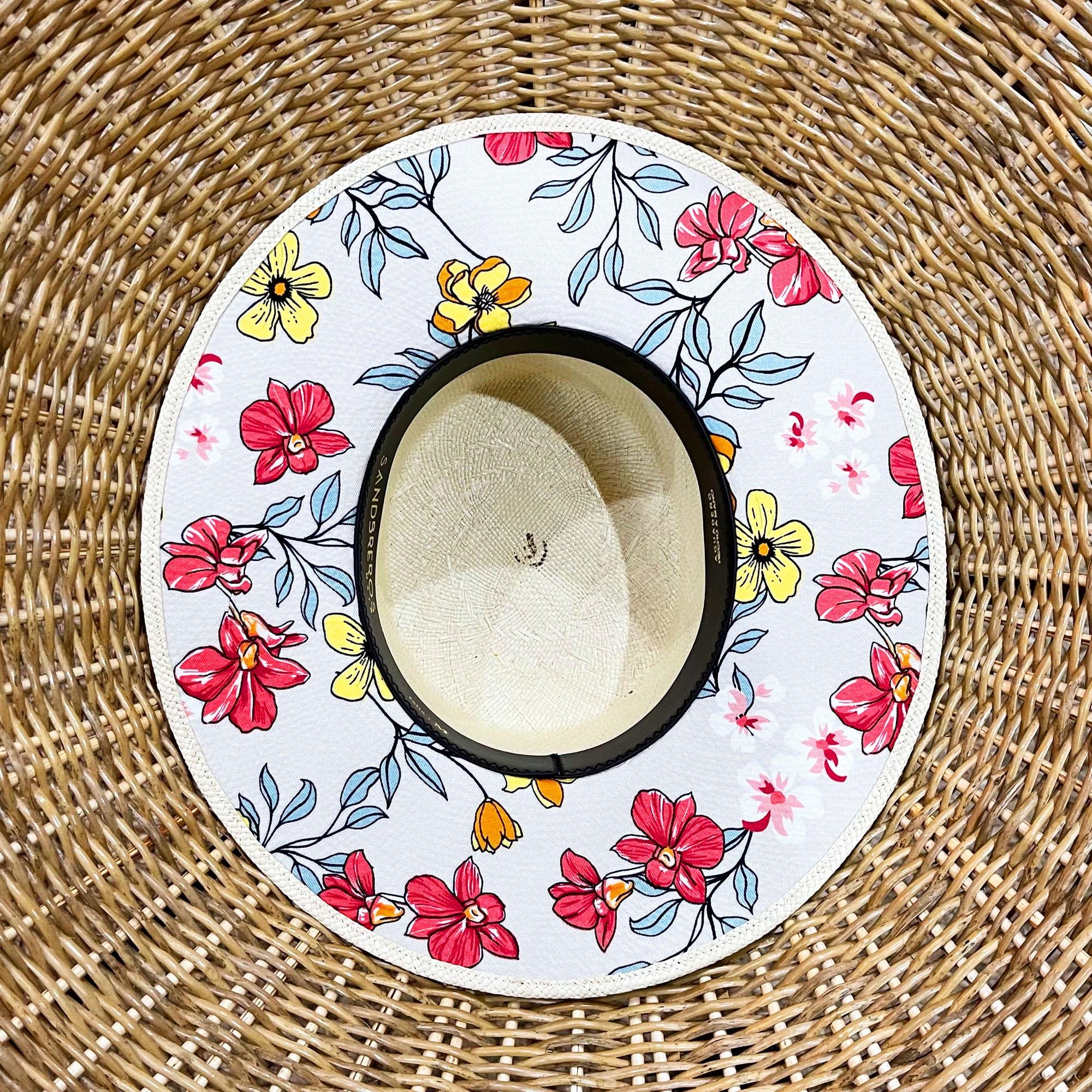 cordobes de paja natural extrafina con tela en el ala de flores